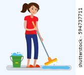 woman cleaning  with a mop and... | Shutterstock .eps vector #594737711