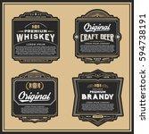 vintage frame design for labels ... | Shutterstock .eps vector #594738191