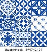 spanish tiles  moroccan tiles... | Shutterstock .eps vector #594742424