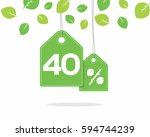 vector green hanging price tag... | Shutterstock .eps vector #594744239