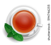 cup of black tea on saucer with ... | Shutterstock .eps vector #594746255