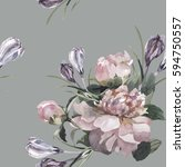 hand painting peonies and... | Shutterstock . vector #594750557