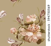 hand painting peonies and... | Shutterstock . vector #594750569