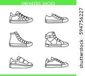 vector sneakers shoes  running  ... | Shutterstock .eps vector #594756227