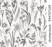 vintage seamless floral pattern.... | Shutterstock . vector #594757109
