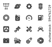 vector black car service icons... | Shutterstock .eps vector #594761729