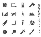 vector black carpentry icons... | Shutterstock .eps vector #594764801