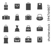 vector black bag icons set on... | Shutterstock .eps vector #594764807