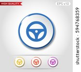 driver wheel icon. button with... | Shutterstock .eps vector #594768359