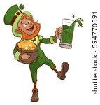 drunk fun patrick holds pot of... | Shutterstock . vector #594770591