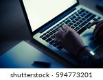 night time computer work.... | Shutterstock . vector #594773201