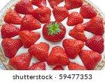 Closeup of homemade strawberry cheese cake. - stock photo