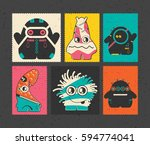 set of six retro postage s... | Shutterstock .eps vector #594774041