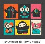 set of six retro postage s... | Shutterstock .eps vector #594774089