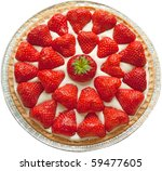 Homemade strawberry cheese cake isolated on white. - stock photo