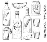 set of bottles  snacks to vodka.... | Shutterstock .eps vector #594776531