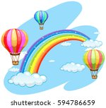 three balloons flying over the... | Shutterstock .eps vector #594786659