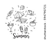 summer holiday theme background ... | Shutterstock .eps vector #594790721