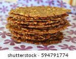stack of waver thin dutch sugar ... | Shutterstock . vector #594791774
