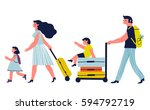 parents with children are going ... | Shutterstock .eps vector #594792719