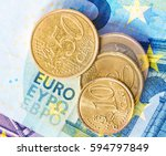 euro coins on euro banknotes... | Shutterstock . vector #594797849