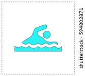 swimming outline vector icon...