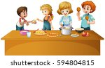 family preparing and cooking... | Shutterstock .eps vector #594804815
