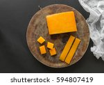 block  slices and cubes cheddar ... | Shutterstock . vector #594807419