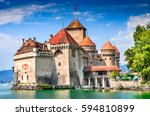 Small photo of Chillon Castle, Switzerland. Montreaux, Lake Geneve, one of the most visited castle in Swiss, attracts more than 300,000 visitors every year.