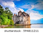 Small photo of MONTREUX, SWITZERLAND - AUGUST 18, 2011 - Castle Chillon one of the most visited castle in Switzerland attracts more than 300,000 visitors every year.