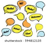 hand drown bubbles speach clour   Shutterstock .eps vector #594812135