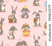happy adorable rabbit cartoon... | Shutterstock .eps vector #594812579