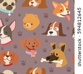 funny cartoon dogs characters... | Shutterstock .eps vector #594812645
