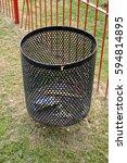 black mesh metal litter bin... | Shutterstock . vector #594814895