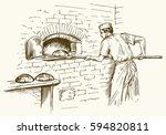 baker taking out with shovel... | Shutterstock .eps vector #594820811