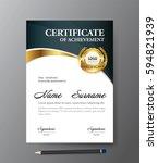 certificate template a4 size...   Shutterstock .eps vector #594821939
