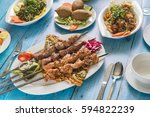 traditional syrian cuisine ... | Shutterstock . vector #594822239