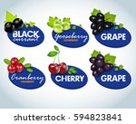 organic berries labels... | Shutterstock .eps vector #594823841