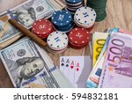 poker combinations   chips ... | Shutterstock . vector #594832181