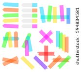 a set of transparent colored... | Shutterstock .eps vector #594834581