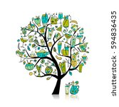 drinks collection  art tree for ... | Shutterstock .eps vector #594836435