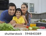 portrait of parents with son in ... | Shutterstock . vector #594840389