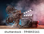 old style movie projector ... | Shutterstock . vector #594843161