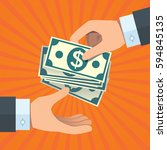 hand giving money to other hand | Shutterstock .eps vector #594845135