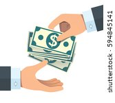 hand giving money to other hand | Shutterstock .eps vector #594845141