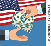 hand giving money to other hand ... | Shutterstock .eps vector #594845165