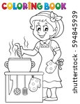 coloring book happy female cook ... | Shutterstock .eps vector #594845939