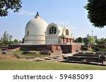 Parinirvana Stupa and temple, Kushinagar, India  - stock photo