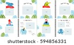 a photo book with cartoon... | Shutterstock .eps vector #594856331