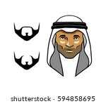 arab men's head white scarves | Shutterstock .eps vector #594858695